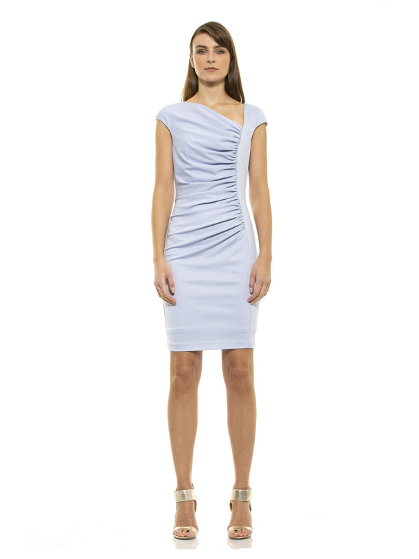 Brooke Ice Blue Asymmetric Ruched Sheath