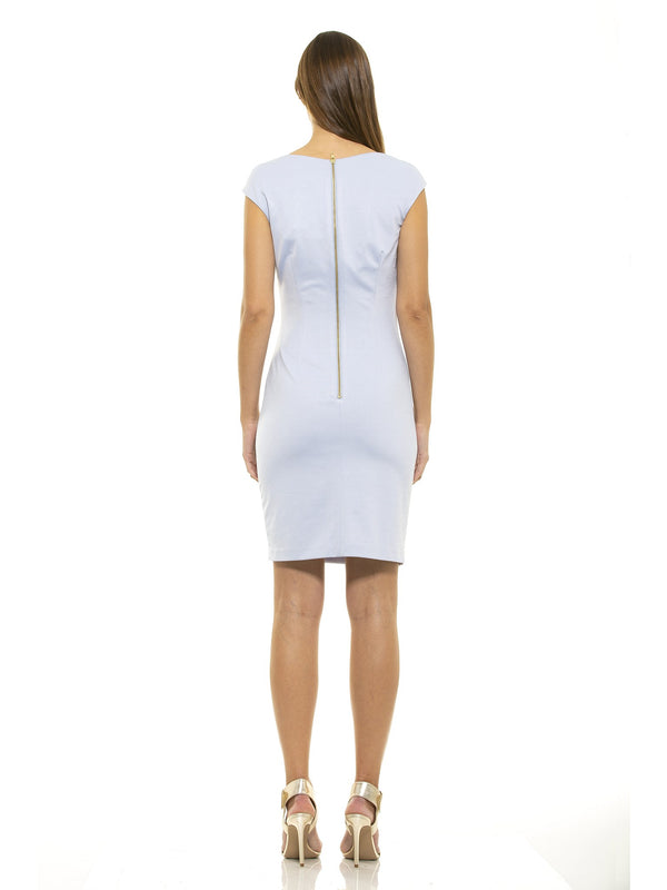 Brooke Ice Blue Asymmetric Ruched Sheath [product_type)