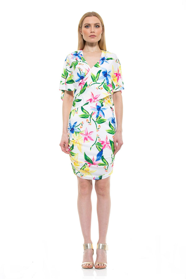 Tamara Surplice Tropical Print Dress - ALEXIA ADMOR