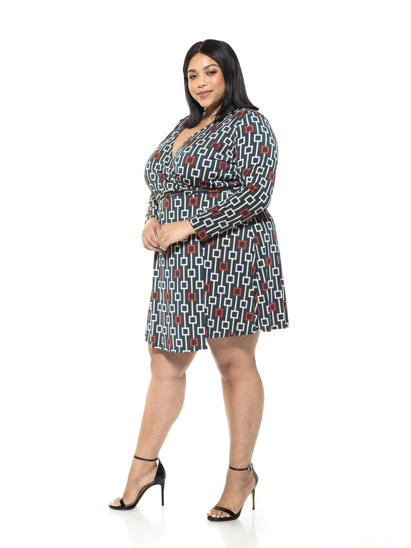 DIANA GEOMETRIC PRINT WRAP DRESS - PLUS SIZE