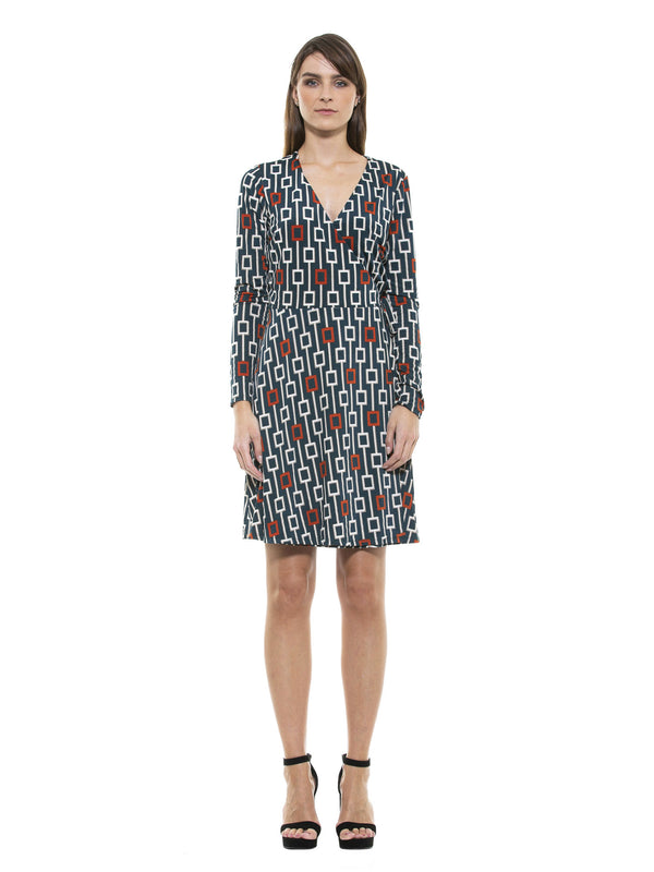 DIANA GEO PRINT WRAP DRESS