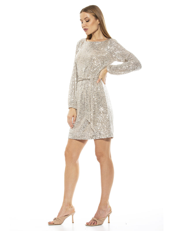 Val Velvet Tie Sequin Shift Dress - ALEXIA ADMOR