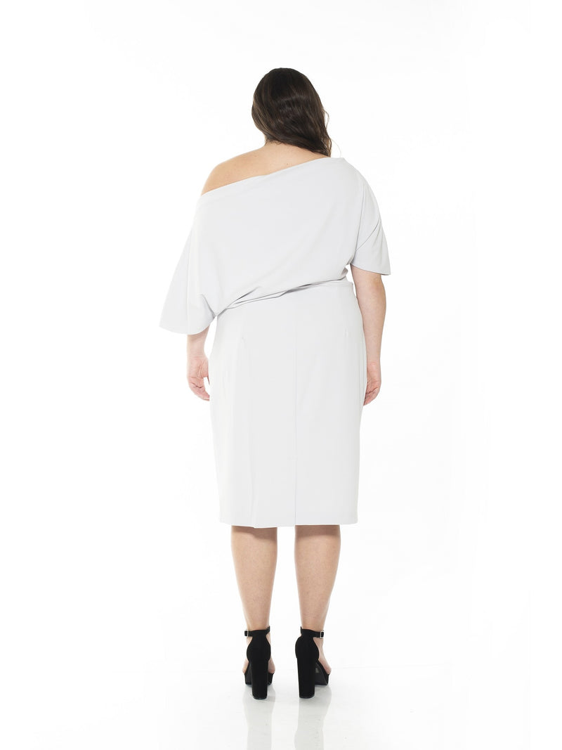 OLIVIA DRAPED ONE SHOULDER SHEATH - PLUS SIZE