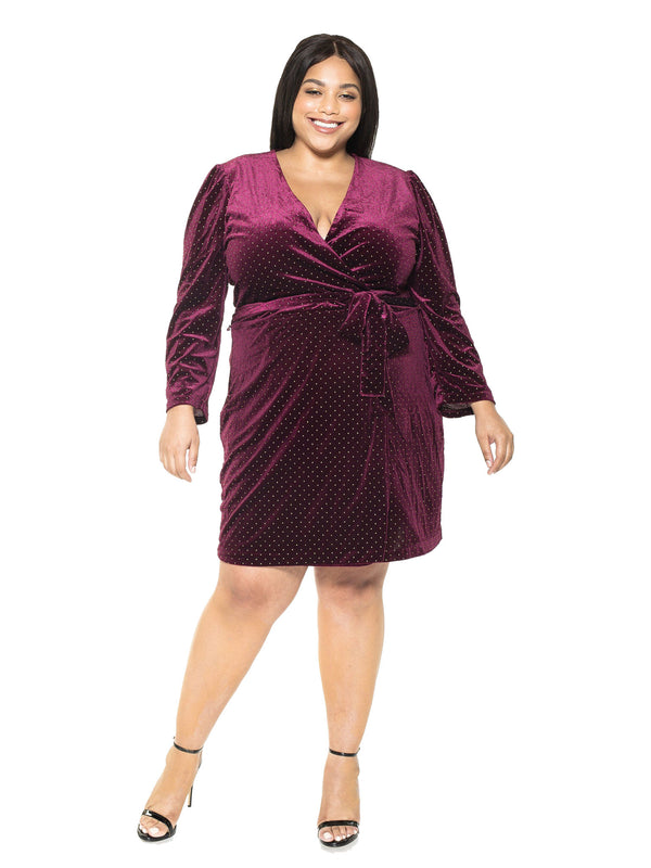Amelia Studded Velvet Wrap Dress - PLUS SIZE