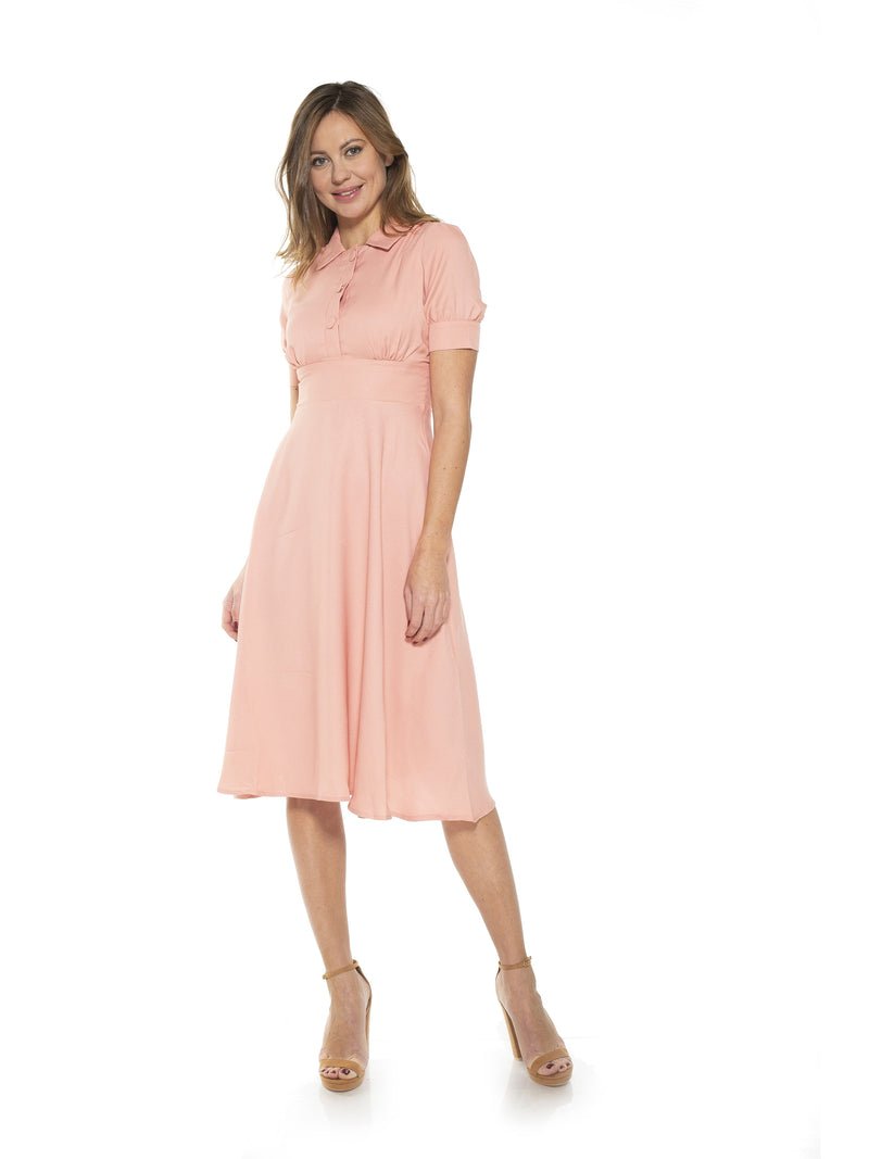 Emery Cap Sleeve Collared Fit and Flare Dress [product_type)