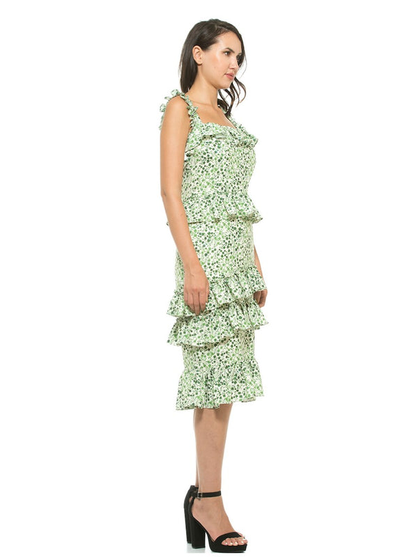 Liv Floral Ruffle Midi Dress [product_type)