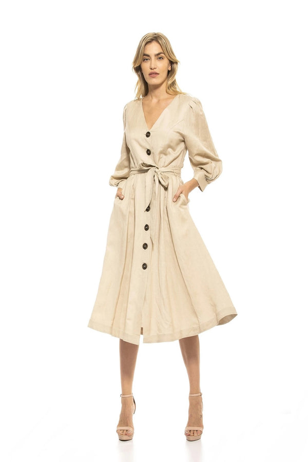 Rivi Belted Puff Sleeve Shirt Dress - ALEXIA ADMOR