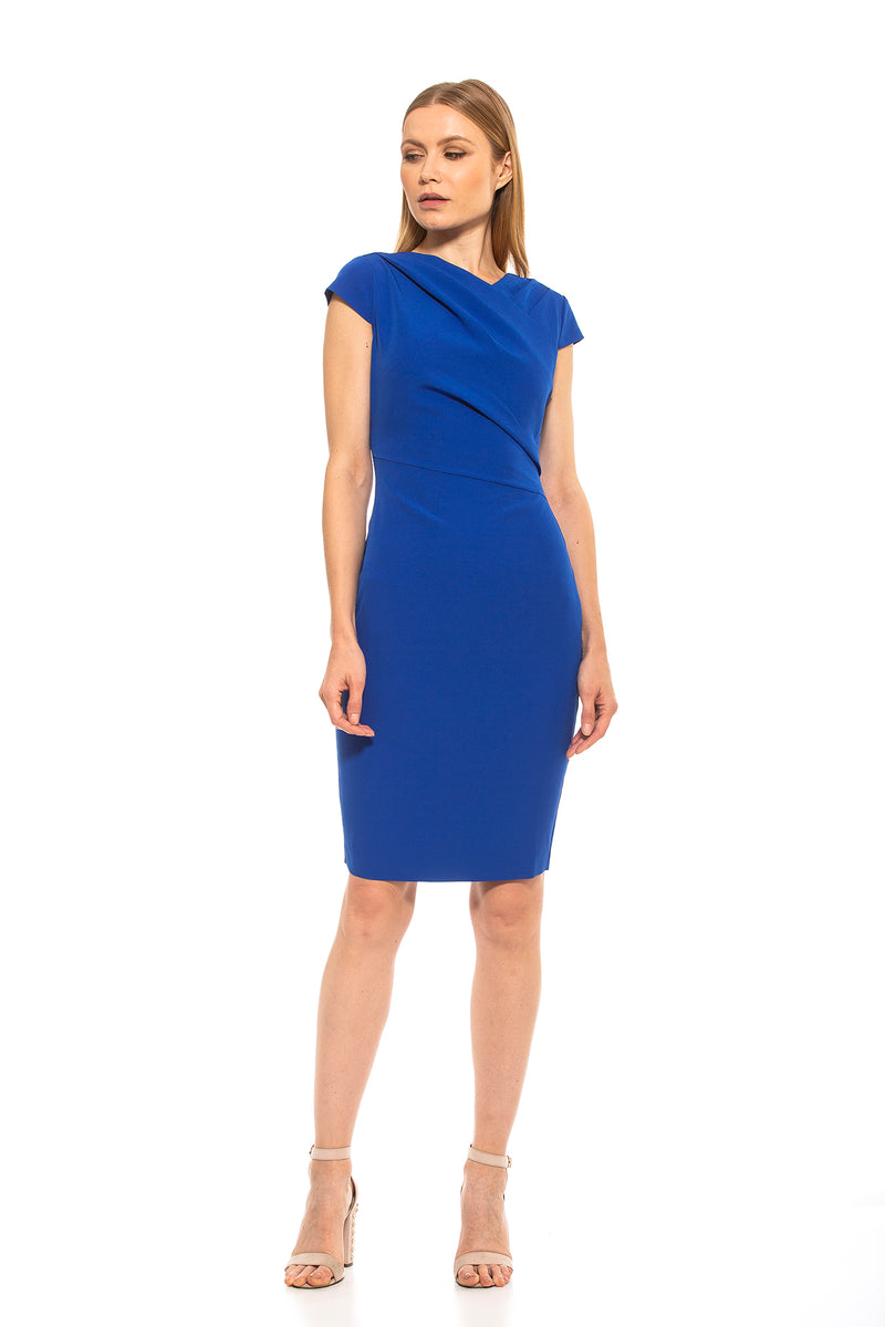 Ester Asymmetric Cap Sleeve Sheath [product_type)