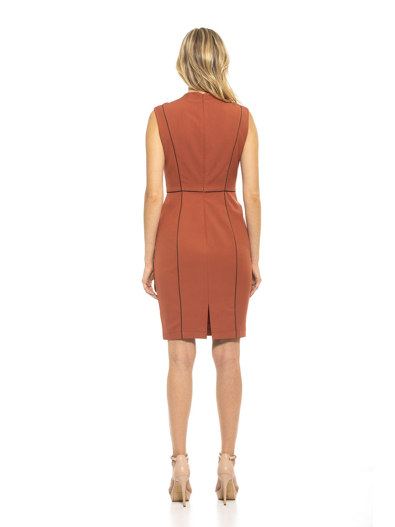 GWEN HIGH NECK SHEATH WITH PIPING [product_type)