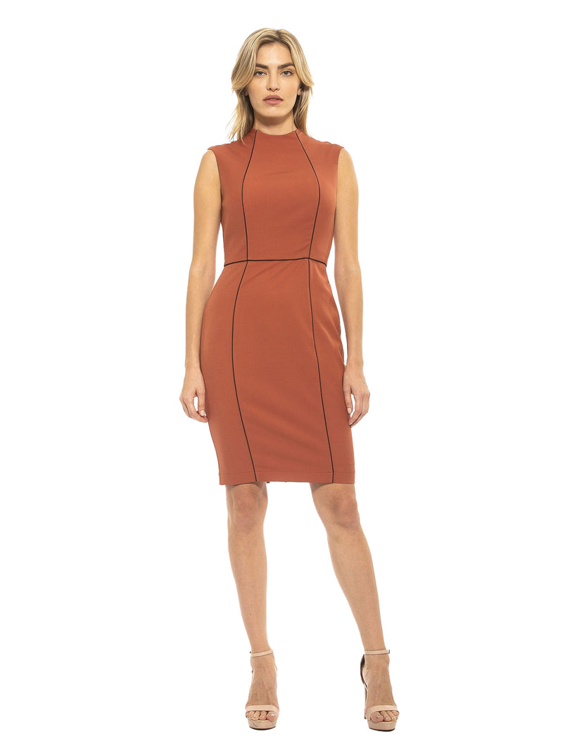 GWEN HIGH NECK SHEATH WITH PIPING