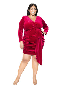 Juliana Velvet V Neck Draped Dress