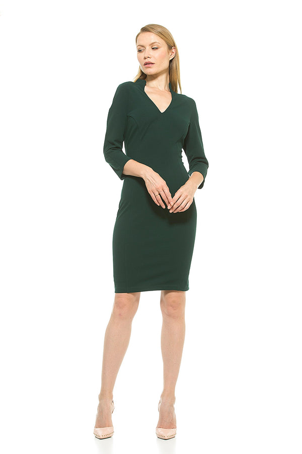 Aria Midi Sleeved Military Neck Dress - ALEXIA ADMOR
