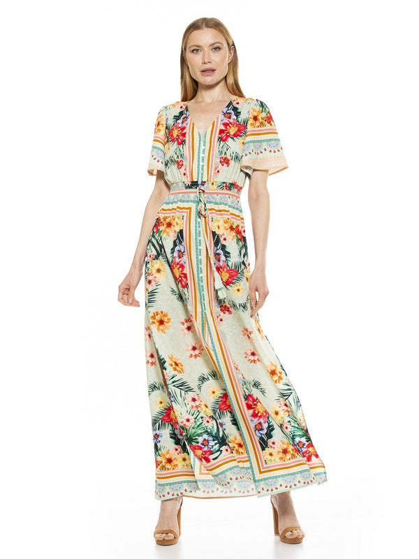 Gianna V Neck Flutter Sleeve Maxi Dress