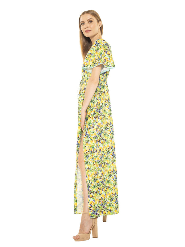 GIANNA V NECK FLUTTER SLV MAXI DRESS