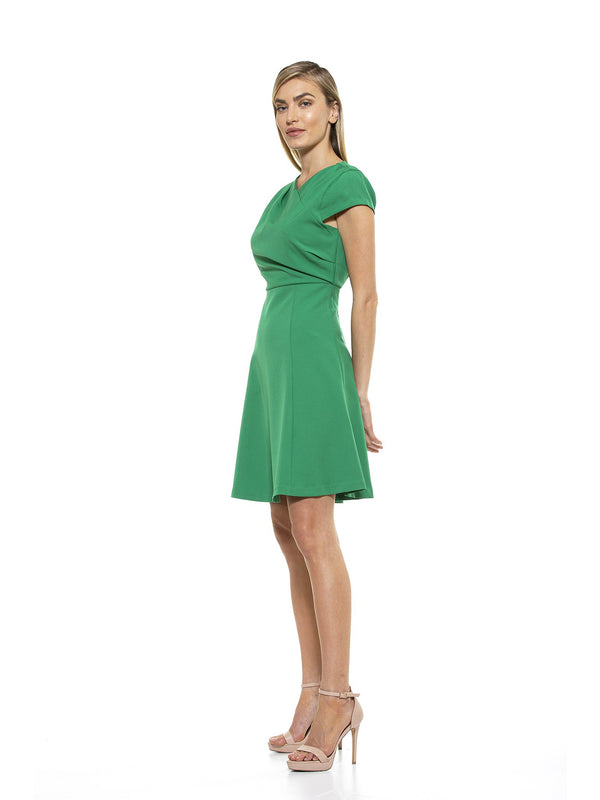 Karin Asymmetrical Cap Sleeve Trumpet Dress - ALEXIA ADMOR