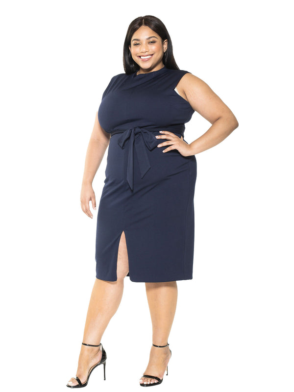 Fara High Neck Front Slit Sheath - Plus Size