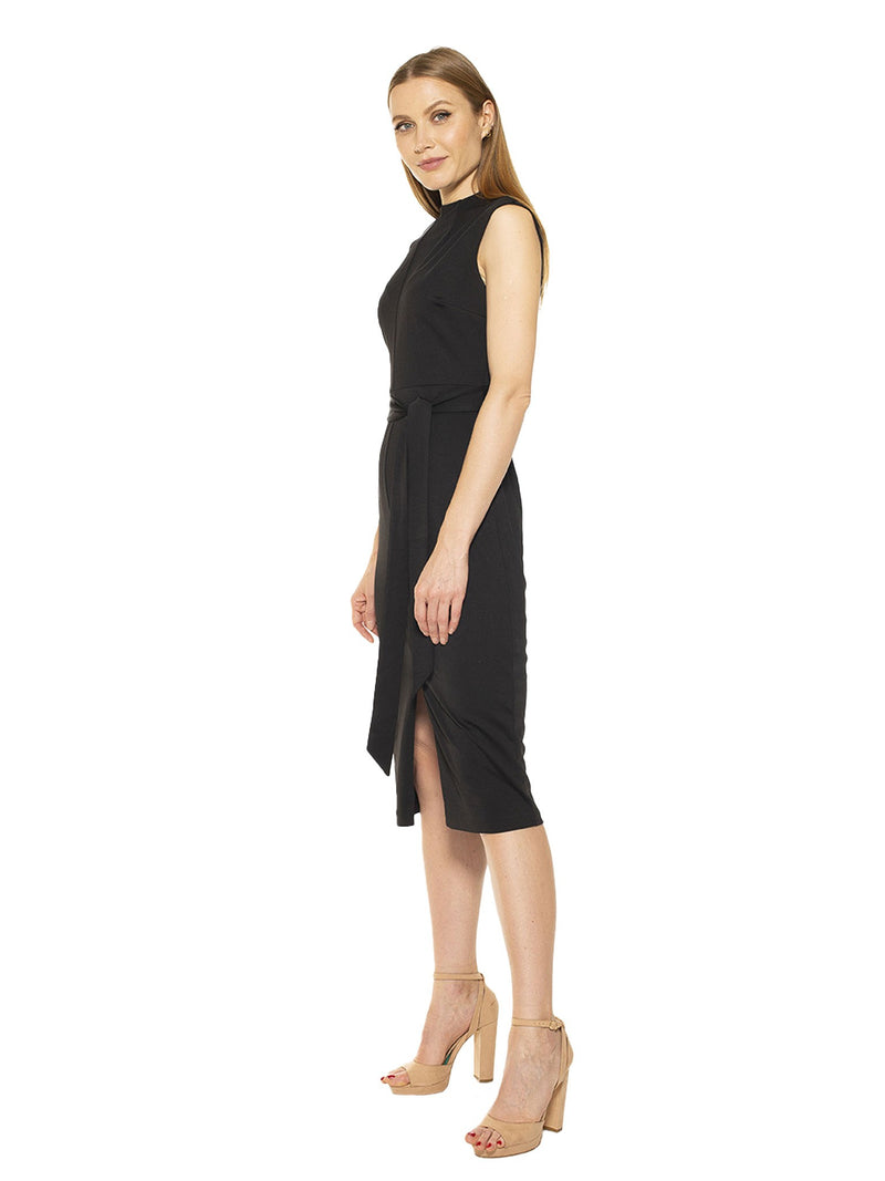 Fara High Neck Front Slit Sheath