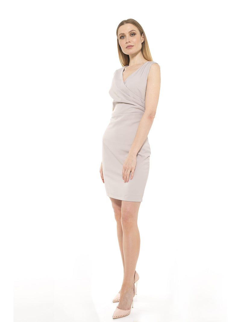 Kylie V Neck Side Ruched Dress [product_type)