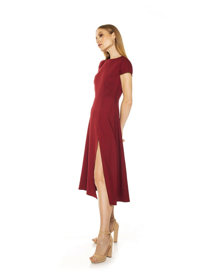 LILY CREWNECK MIDI DRESS W/ SLIT