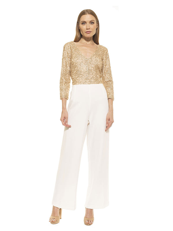 "AMBER 3/4"" SLEEVE LACE JUMPSUIT"