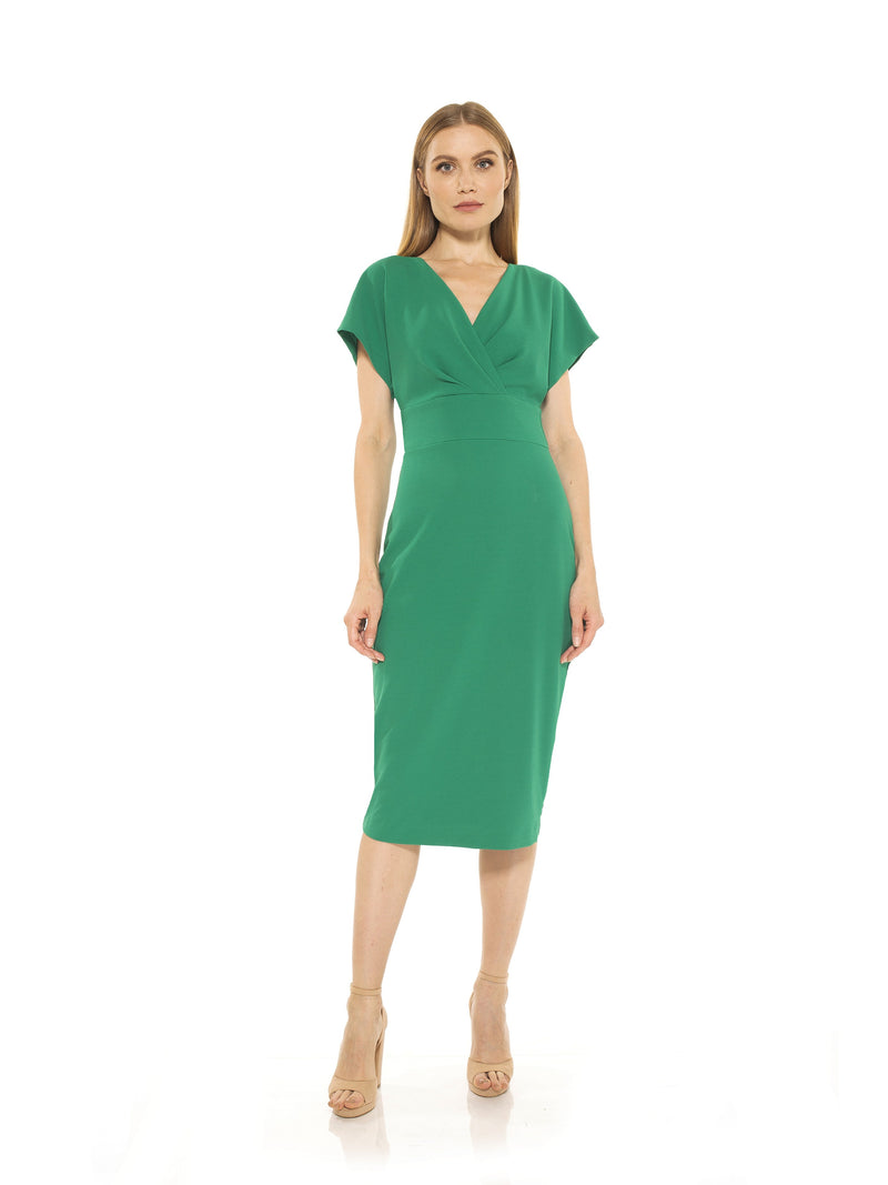 NAOMI DRAPE SURPLICE SHEATH
