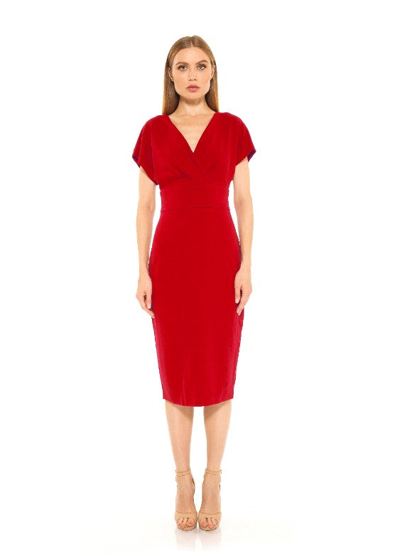 Naomi Drape Surplice Sheath Dress
