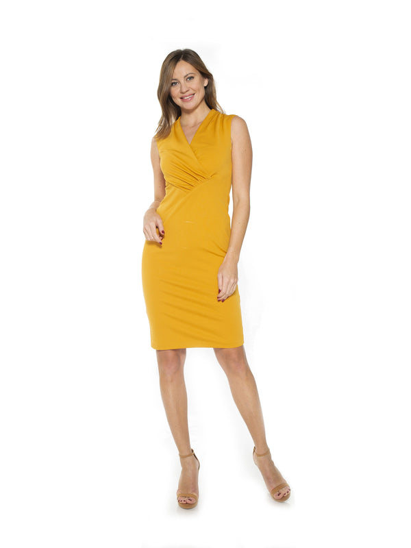 Cora Ruched Asymmetric Sheath Dress