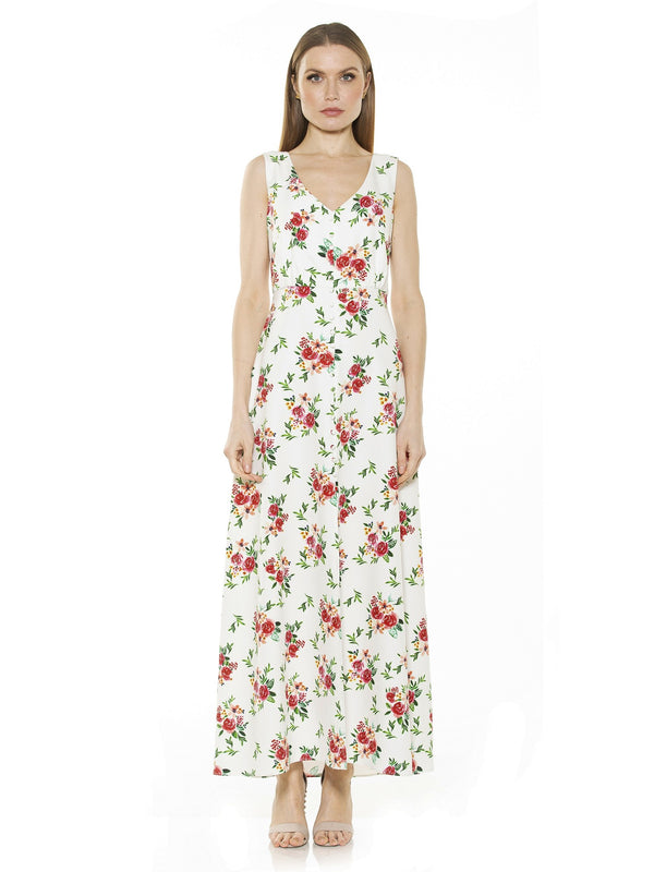 MILANA V NECK BUTTON DOWN MAXI DRESS