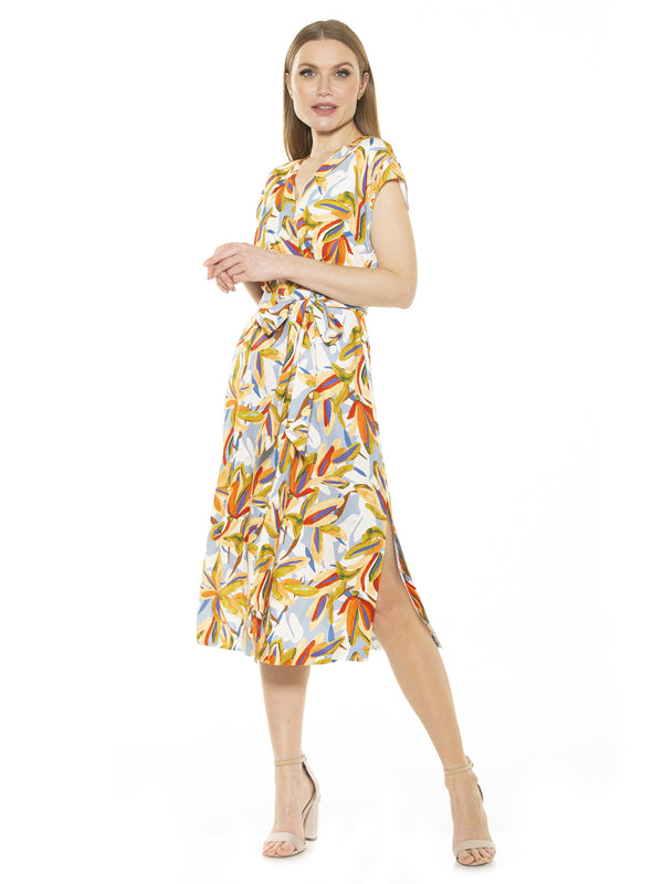 IRIS DROPPED SHOULDER WRAP DRESS