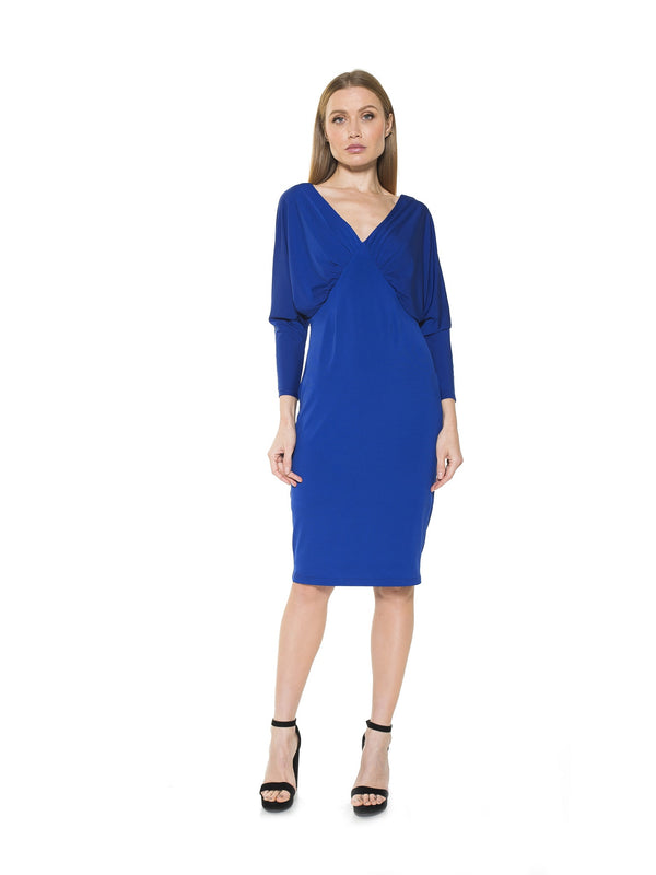 Christine Draped Dolman Sleeve Sheath Dress
