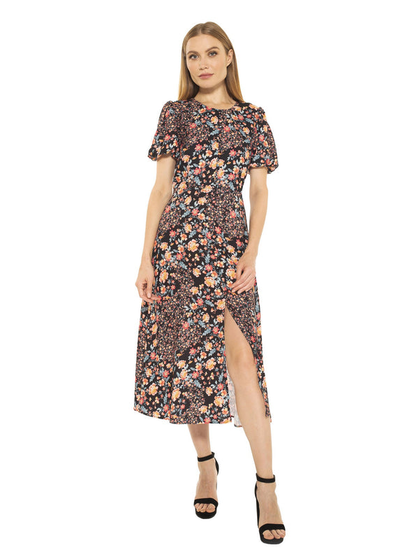 Katie Button Down Puff Sleeve Midi Dress