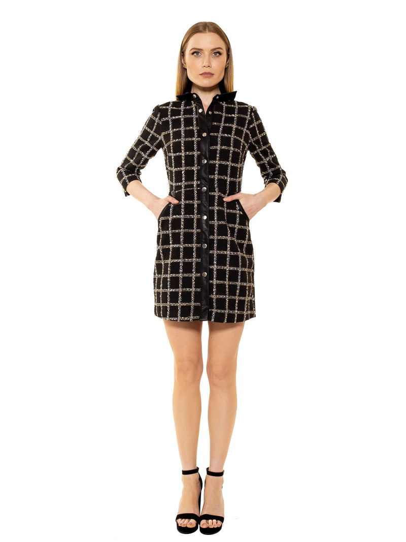 REAGHAN 3/4 SLEEVE BUTTON DOWN DRESS