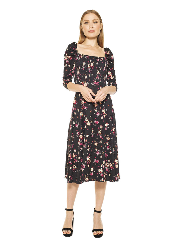 LILA SMOCKED FIT & FLARE PUFF SLEEVE DRESS