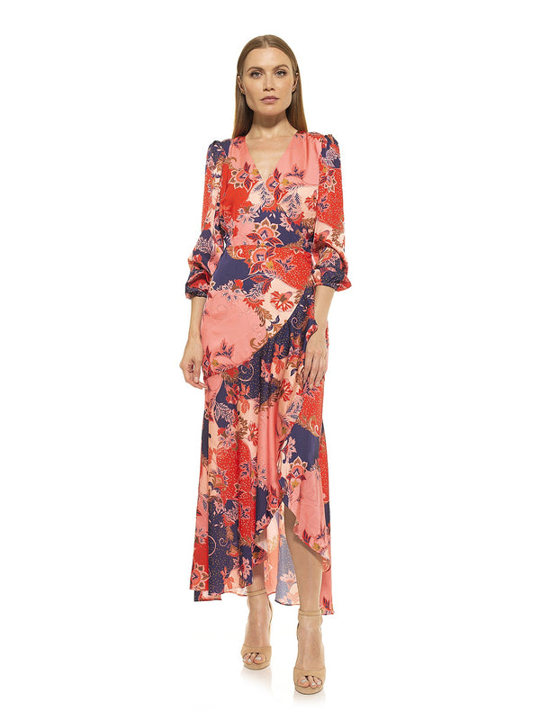 TALA RUFFLE WRAP MAXI DRESS