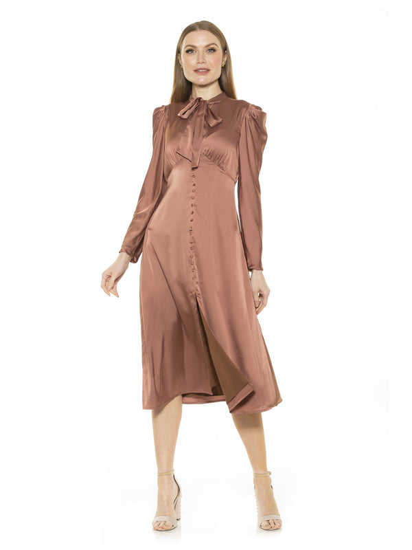 Vicki Bow Tie Puff Sleeve Button Down Dress