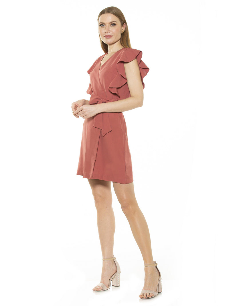 ADA RUFFLE SLV WRAP DRESS WITH WAIST TIE