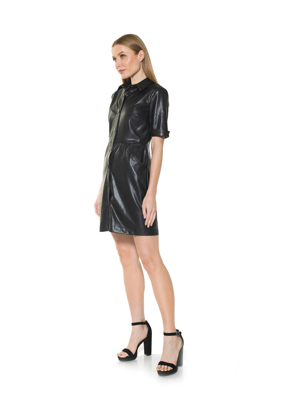 JANINE FAUX LEATHER DRESS