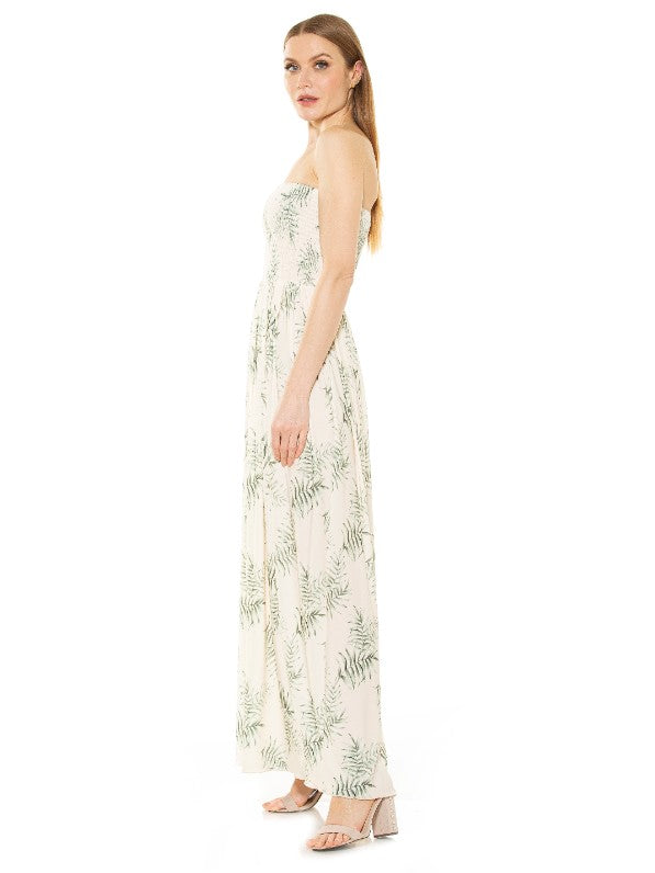 EMMY SMOCKED STRAPLESS MAXI