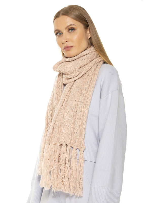 Rosie Cable Knit Scarf With Fringe