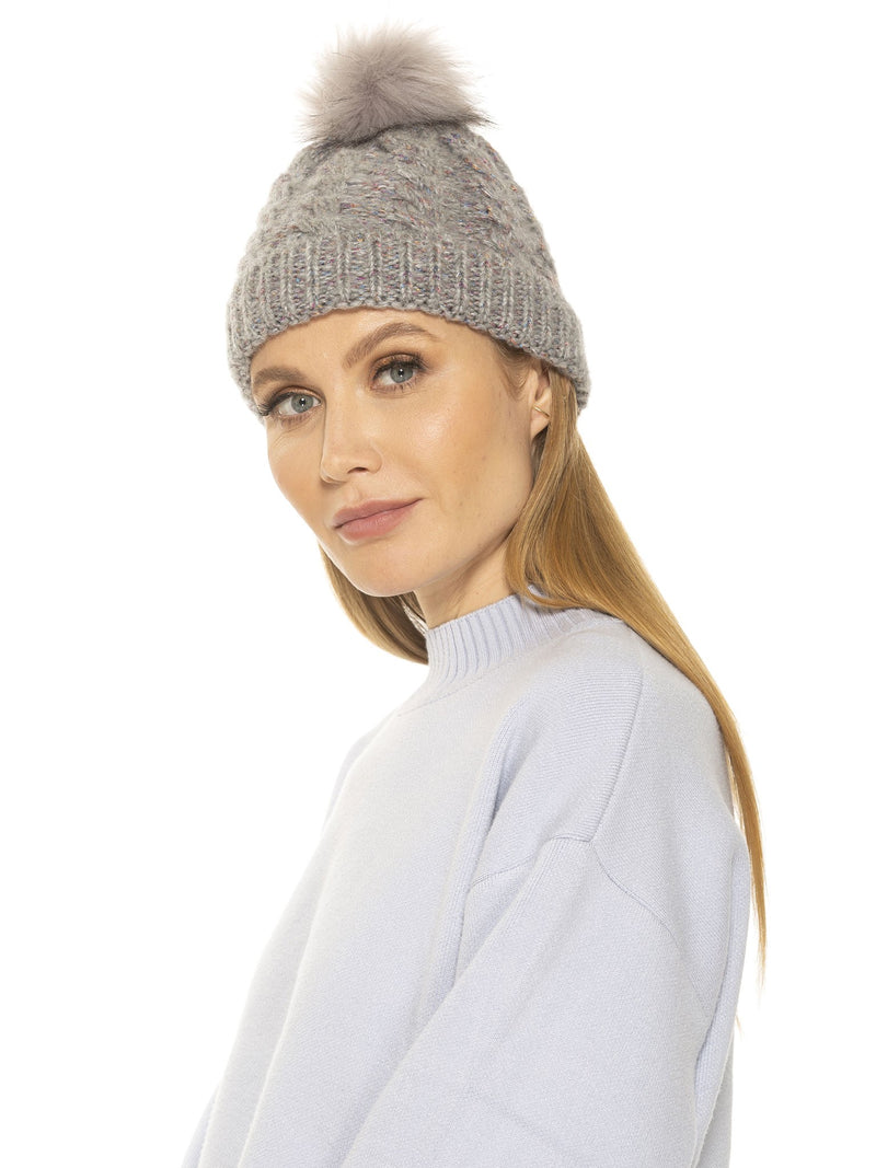 ANGELA CABLE KNIT BEANIE WITH POM