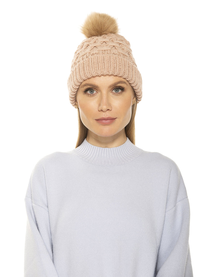 AMANDA CABLE KNIT BEANIE WITH FAUX FUR POM POM