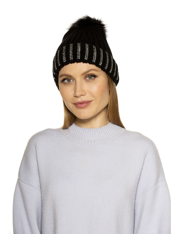 Darla Knitted Beanie With Rhinestones And Pom Pom