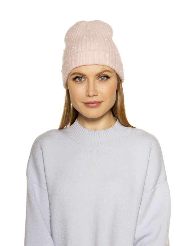 REBECCA SOFT BEANIE WITH FAUX PEARLS