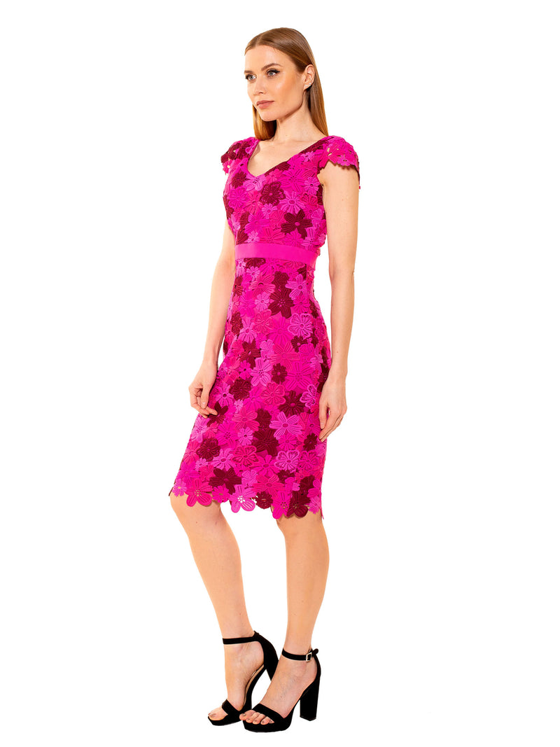 Laila Rose CAP SLV V NECK CHUNKY LACE SHEATH [product_type)