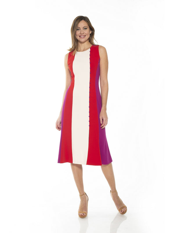 Angellyne Collared V Neck Fit and Flare Dress - ALEXIA ADMOR