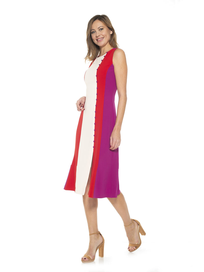 Angellyne Collared V Neck Fit and Flare Dress [product_type)