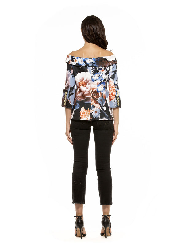 Karinna Off Shoulder Floral Jacket - ALEXIA ADMOR
