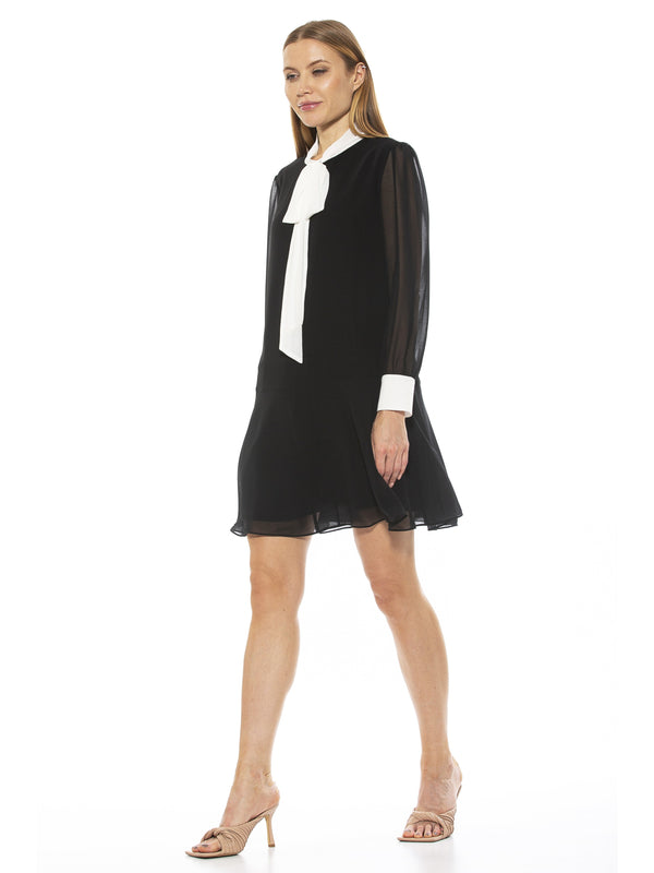 CONTRAST ASYMETRICAL WRAP DRESS [product_type)