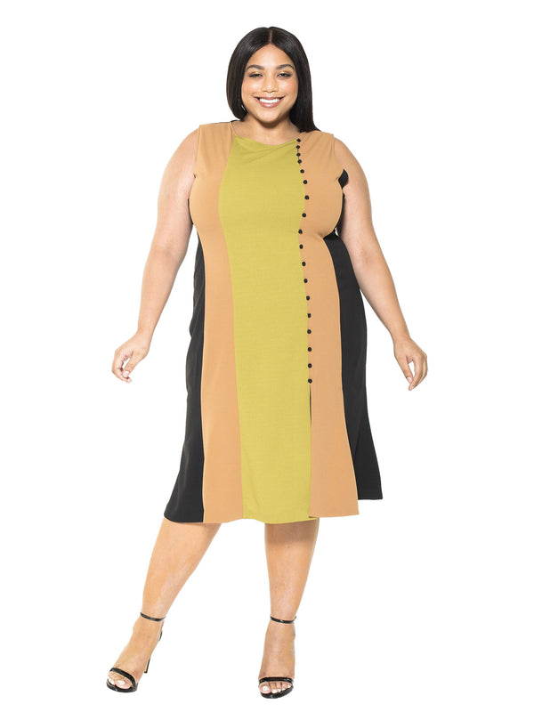 Anna Midi Colorblock Dress - Plus Size