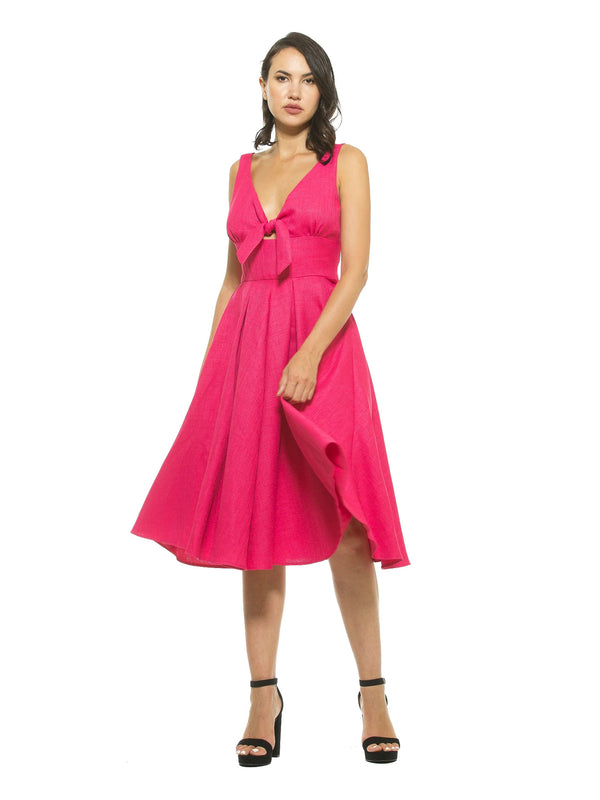 Karina V Neck Fit and Flare Bow Dress
